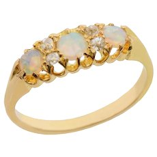 3 Stone Opal and Rose Cut Diamond Ring set in 18 KT Gold