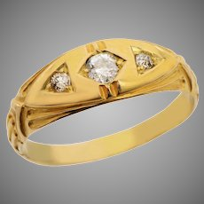18 KT Gold and Old Euro Diamond Band