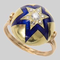 Exceptional Bombe Shape Enamel and Old Euro Diamond Star Ring