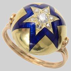 Antique Bombe Shape Enamel and Old Euro Star Ring