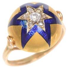 Bombe Shaped Enamel and Old Euro Diamond Star ring