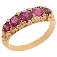 Antique 5 Stone Ruby and Rose Cut Diamond Ring set in 18 KT Gold