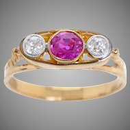 14 KT. Yellow Gold, Diamond and Old European Ruby Ring