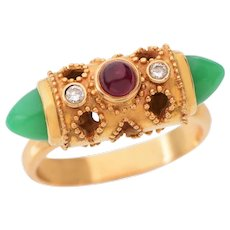 Vintage Bullet Shaped Gold Chrysoprase Diamond and Ruby set in 18 KT Gold