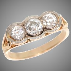 3 Stone Old Mine Diamond Ring in a Modern Setting