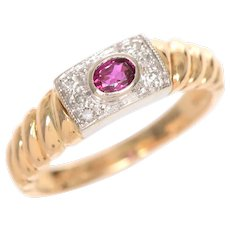 Vintage Ruby and Diamond Ring set in Platinum and 14 KT Gold