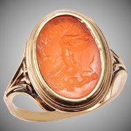Antique Carved Carnelian Ring of a Chariot Driver and 2 Horses