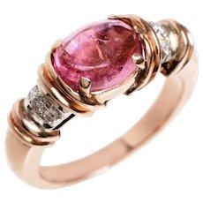 Cabochon Pink Tourmaline, Diamond and 14 Kt. Rose Gold Ring