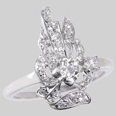 Platinum and Diamond Flame Design Ring