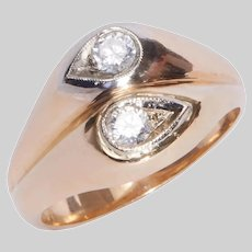 Modern Double Diamond Snakehead Ring