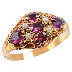 Victorian 15 KT Engraved Gold and Garnet and Pearl Ring