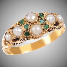 Victorian Pearl and Emerald Carved 18 KT Gold Band