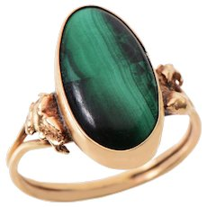 Vintage Bezel set Malachite and 14 KT Gold Ring