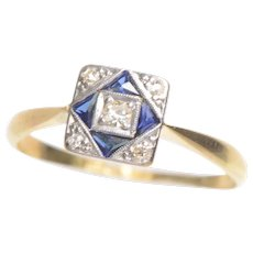 Art Deco Checkboard Sapphire and Diamond 18 KT Gold Ring
