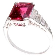 Art Deco Spinel and Diamond Ring