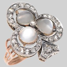 Exceptional Trefoil Moonstone and Rose Cut Diamond Ring