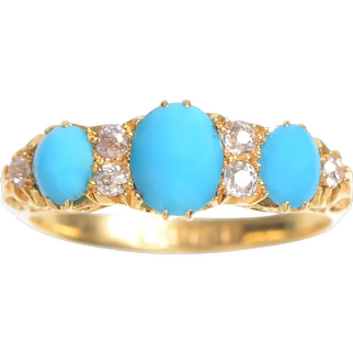Antique 3 Stone Turquoise & Diamond Ring / Engagement Ring / Right Hand Ring