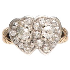 Victorian Diamond Double Hearts Ring in 18 KT Gold
