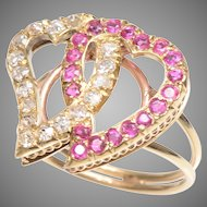 Antique Witch's Hearts Ring Set in a Modern Handmade  14 KT Setting