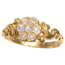 Antique 18 KT Gold and Old Euro Diamond Cluster Ring