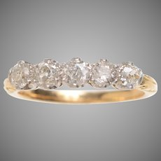 Antique 5 Stone Diamond Ring Set in 18 KT Gold