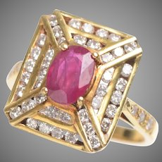 Ruby and Diamond Deco Style Ring in 18 KT Gold