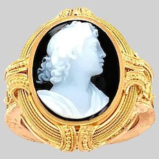 Hardstone High Relief Cameo Ring