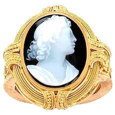Antique Hardstone High Relief Cameo Ring