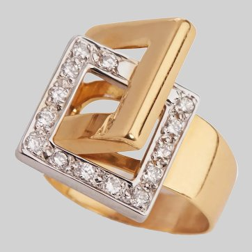 Mid Century Diamond and 18 KT Gold Ring