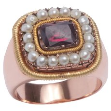 Antique Garnet and Pearl Ring  with an Antique Mount