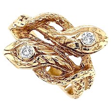 Double Headed Snake Ring with Diamonds in 14 KT Gold