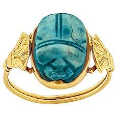 Vintage Egyptian Revival Scarab Ring in 18 KT Gold