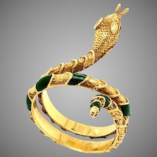 18 KT Gold and Enamel Wrapping Serpent Ring