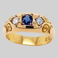 Antique 3 Stone Sapphire and Diamond Ring
