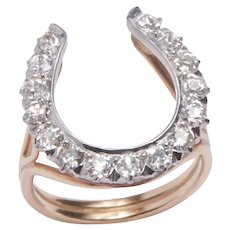 Victorian Diamond Horseshoe in a Modern set Ring
