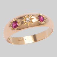 Antique 18 KT Star set Ruby and Diamond Ring