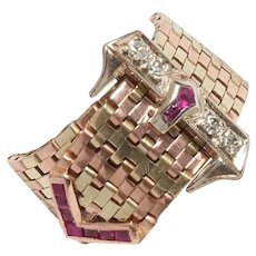 Fabulous 1940s 14KT Gold Buckle Ring