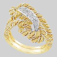 Elegant 18 KT Gold Platinum and Diamond Rope Ring