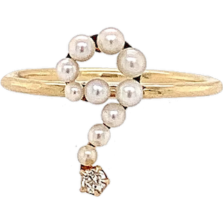 Pearl and Diamond Question Mark Ring