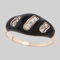 15 KT Victorian Enamel and Diamond Ring