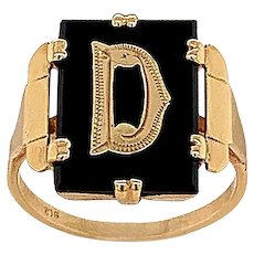 """English Onyx and Gold """"D"""" Initial Ring"""