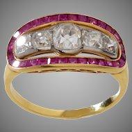 18 KT. Yellow Gold Diamond & Ruby Ring