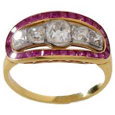 18 KT. Yellow Gold Diamond & Ruby Ring