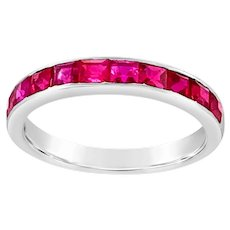 18 KT White Gold and Synthetic Ruby Half Hoop Band