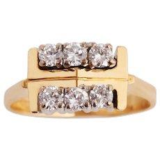 1970's Double Row Diamond Ring