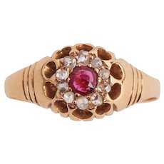 Antique Ruby and Rose cut Diamond Ring