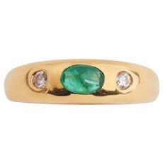 Elegant Emerald and Diamond 3 Stone Ring