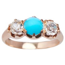 Victorian Turquoise and Diamond 3 Stone Ring
