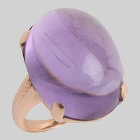 Vintage Cabochon Amethyst and 14 KT Gold Ring
