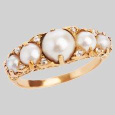 Antique Pearl Diamond Half Hoop Ring